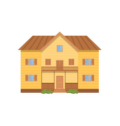 Wooden modern two-story house with huge facade vector