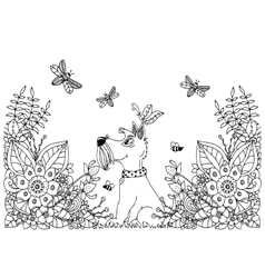 Zentangl dog in flowers vector