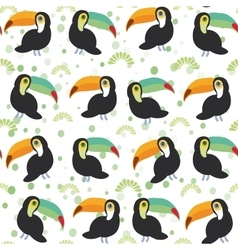 Cute Cartoon toucan birds set on white background vector image