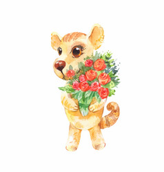 little puppy with a bouquet of roses birthday vector image vector image