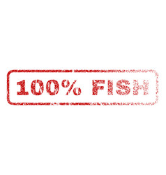 100 percent fish rubber stamp vector