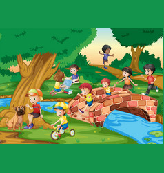 children hanging out in the park vector image vector image