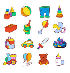 hand drawn cartoon baby toys set vector image
