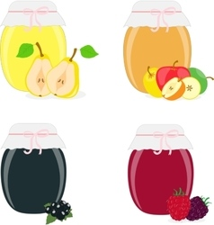 Jam jars pear apple currants raspberries vector image vector image