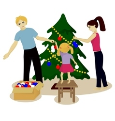 Family decorate christmas tree isolated on white vector