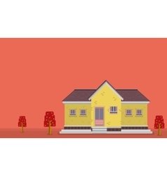 Landscape of yellow house flat vector image vector image