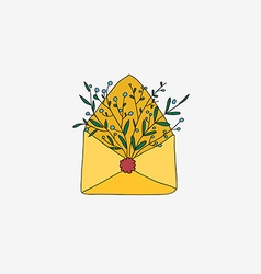 Retro envelope with flowers vector image vector image