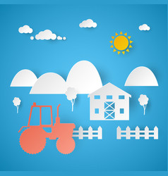 Agricultural farm with tractor and rural landscape vector