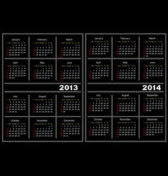 Black calendar template 20132014 vector image