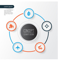 combat icons set collection of fugitive target vector image vector image