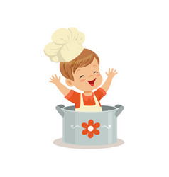 cute little boy chef sitting in the pot vector image vector image