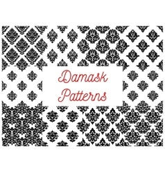 Damask seamless patterns with floral motif vector image
