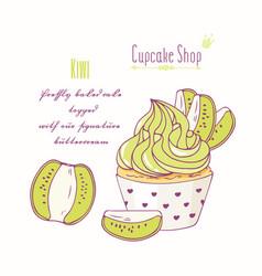 Hand drawn kiwi cupcake vector