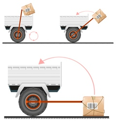 Loading cargo in the truck with the help of wheels vector image vector image