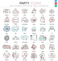 Party disco ultra modern outline line icons vector image vector image