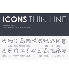 Social Network Thin Line Icons vector image vector image