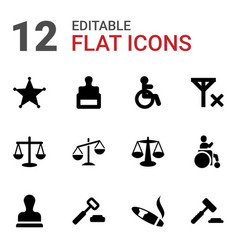 12 law icons vector