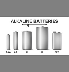 alkaline batteries mock up set different vector image