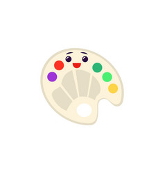 art palette with paints and brush icon vector image