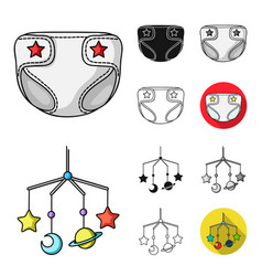 birth of a baby cartoonblackflatmonochrome vector image