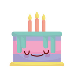 birthday cake with candles celebration cartoon vector image