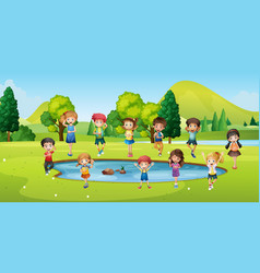 Boys and girls standing round the pond vector