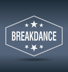 Breakdance hexagonal white vintage retro style vector