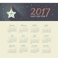 Calendar 2017 year with christmas star vector
