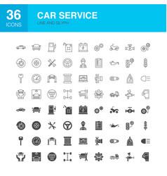 Car service line web glyph icons vector