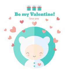 card with cute child for valentines day vector image