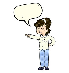 Cartoon friendly woman pointing with speech bubble vector