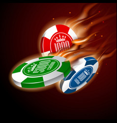 casino chips set in flight flame on dark vector image