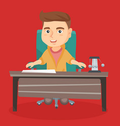 Caucasian boy playing the role of office worker vector