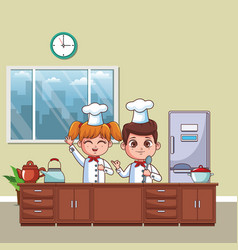chefs kids cartoon vector image