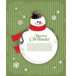 Christmas postcard with snowman vector image