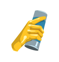 Colorful icon of human hand in protective glove vector