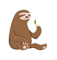 Cute basloth seating funny sloth vector
