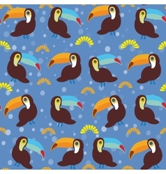 Cute Cartoon toucan birds set on blue background vector image