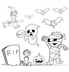 Cute Halloweeen doodle mummy ghost witch vector
