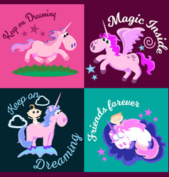 Cute unicorn isolated set magic pegasus flying vector