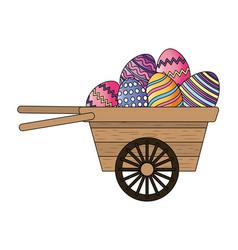 easter egg in wooden wheelbarrow vector image