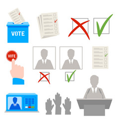 elections set of themed icons vector image