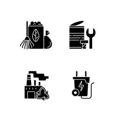 Environmental concern black glyph icons set vector