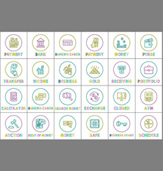 financial icons collection vector image