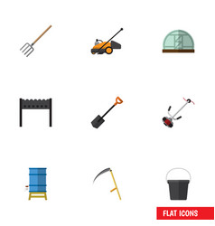flat icon farm set of grass-cutter hothouse lawn vector image