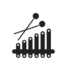 Flat icon in black and white xylophone vector