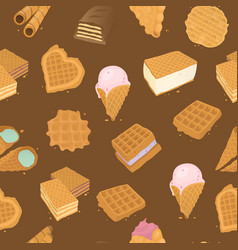 food delicious dessert waffle seamless pattern vector image