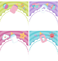 Four background with baby items vector