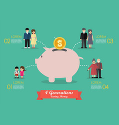 Four generations saving money infographic vector
