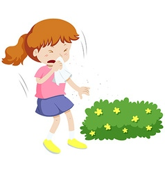 Girl having allergy from pollen vector